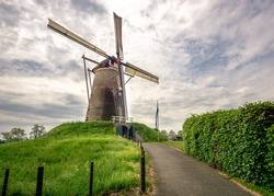 traditional dutch windmill on a small hill