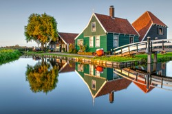 Traditional dutch wooden house in Zaanse Schans village