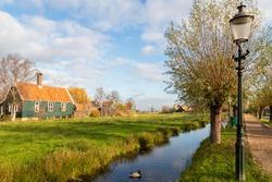 Traditional dutch wooden houses in Zaanse Schans village near Amsterdam