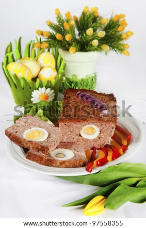 traditional easter meat loaf with egg on the plate