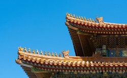 Traditional eaves and cornices in the forbidden city. Chinese cultural symbols.