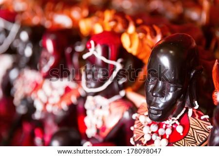 Traditional ebony wood statues on the market, Zanzibar, Tanzania