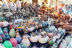 Traditional Egyptian souvenirs at the street market.