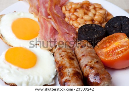 Traditional english breakfast - egg, sausages, beans, bacon and black pudding