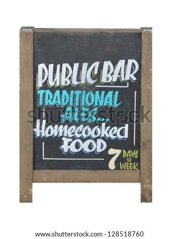 Traditional English pub sign on blackboard, white background.