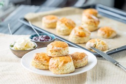 Traditional English Scones with Jam on the Table, Horizontal View