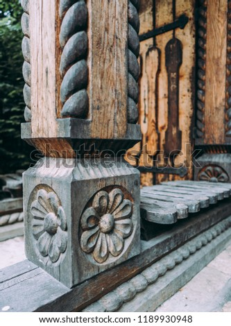 Traditional engraved wooden architecture detail	 #1189930948