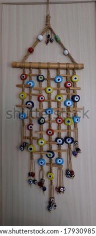 Traditional Evil Eye Beaded wall hanging closeup  Stok fotoğraf ©