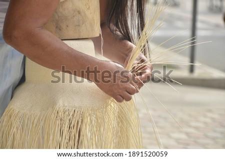 Traditional fabrics of Ecuadorian toquilla straw hats, made in Montecristi - Ecuador Foto stock ©