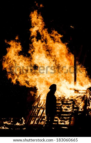 Traditional Festival of Northern Italy. The last Thursday of the month of January, large bonfires are lit in the streets and burned the Giubiana, a large straw puppet dressed in rags.