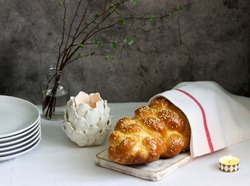 Traditional festive jewish challah bread made from yeast dough with eggs.