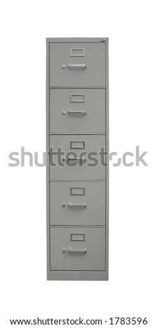 Traditional filing cabinet with clipping path isolated on white - label slots are blank