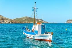 Traditional fishing boat in the aegean sea, Greece.
