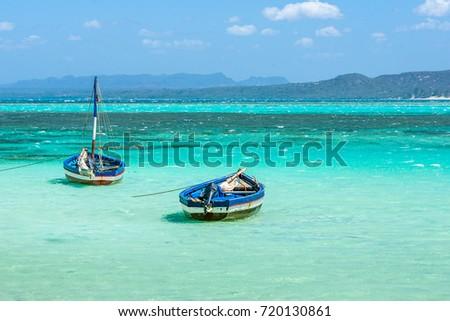 Traditional fishing boats in the Emerald sea of Antsiranana bay (Diego Suarez), north of Madagascar.