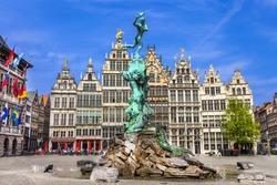 Traditional flemish architecture in Belgium - Antwerpen capital city