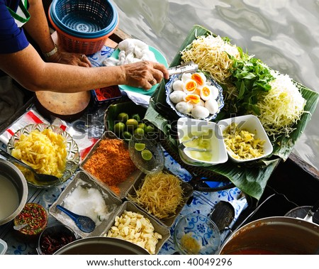 traditional floating market in Bangkok, Thailand