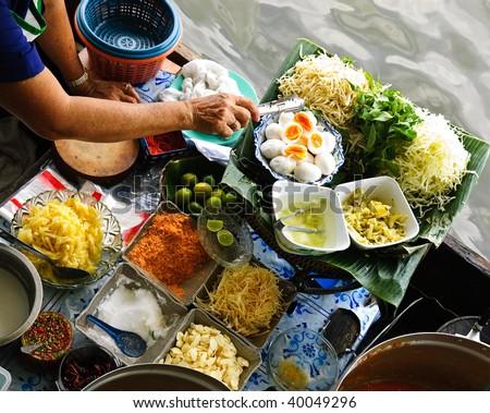 traditional floating market in Bangkok, Thailand