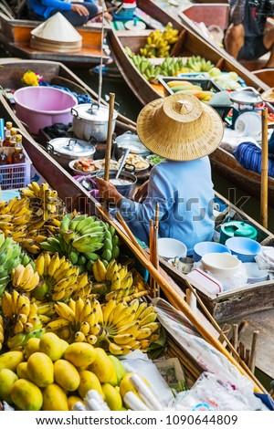 Traditional floating market in Damnoen Saduak near Bangkok. Thailand #1090644809