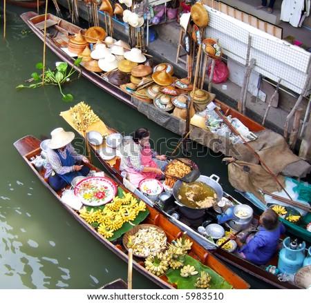 Traditional floating market near Bangkok, Thailand.