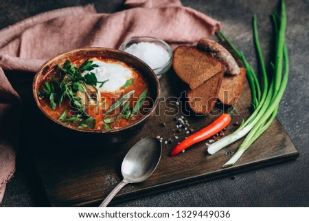 Traditional folk cuisine. Ukrainian borsch with rye bread, onions and garlic on a dark background. #1329449036