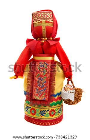Traditional folk Russian fabric doll on Easter.