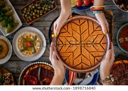 Traditional food of Antakya, oruk in the tray.  Stock fotó ©