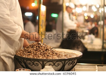 Traditional food stalls in Djemnaa el Fna square, Morocco, Marrakesh