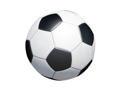 traditional football ball isolated on white background. Side top down view of classic leather sport equipment to play soccer game