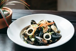 Traditional French blue mussel