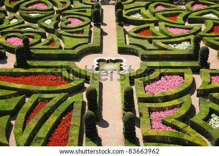 Traditional french garden (Chateau de Villandry)