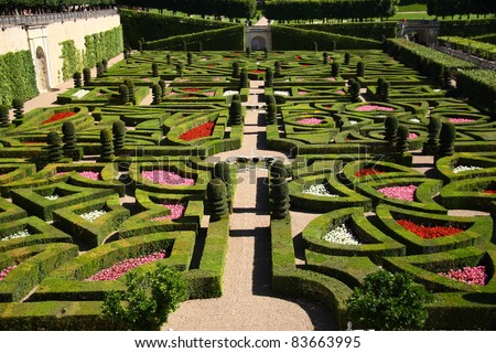 Traditional french garden (Chateau de Villandry)
