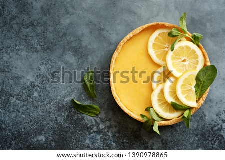 Traditional french lemon tart. View from above