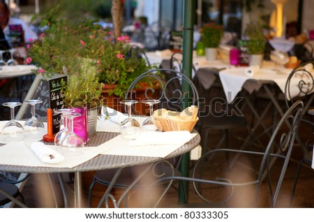 Traditional French street cafe