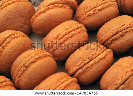Traditional French sweets called macaroons, at a farmers market