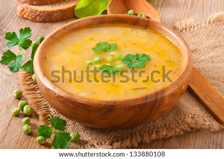 Traditional fresh pea soup in the bowl