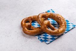 Traditional freshly baked bavarian salted pretzels. Copy space