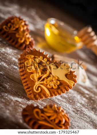 Traditional freshly baked gingerbread or honeybread hearts from Slovenia.