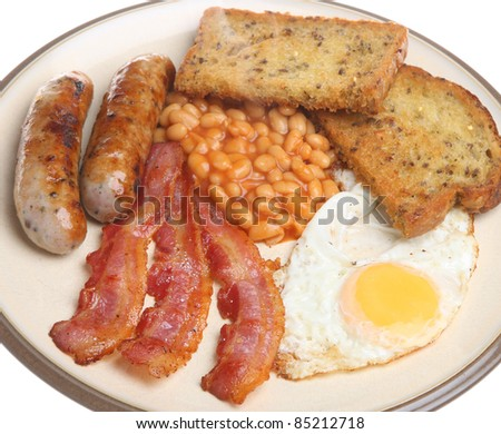 Traditional full English fried breakfast.