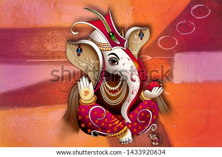 Traditional Ganesha Painting artwork on textured background