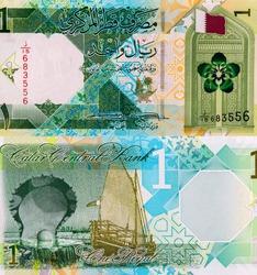 Traditional geometric patterns, the State of Qatar flag, Qatari flora (Dreama), and a gate representing historical Qatari architecture. Portrait from Qatar 1 Riyal 2020 Banknotes.