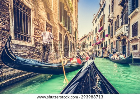 traditional gondolas on canal...
