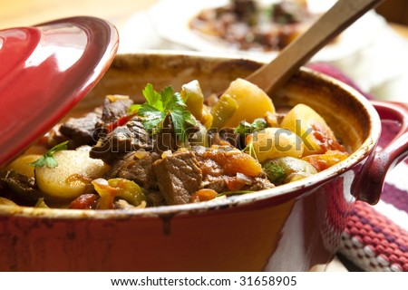 Traditional goulash or beef stew, in red crock pot, ready to serve.  Shallow DOF.