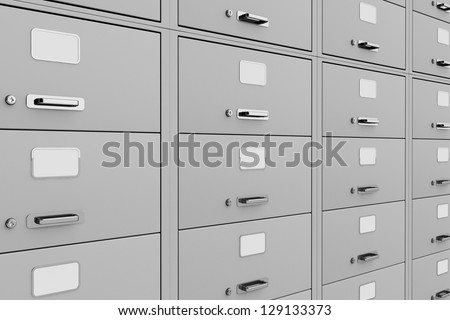Traditional gray File Cabinet extreme close up