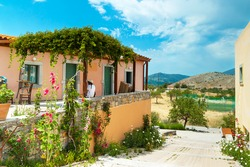 Traditional Greek architecture with gardens on Crete