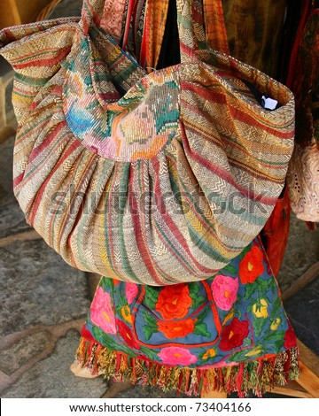 Traditional greek bags in small market in Crete, Greece