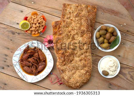 Traditional greek bread (lagana) ,  olives  seafood , taramas .  Stok fotoğraf ©
