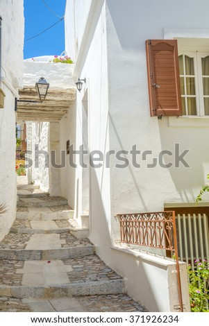 Traditional greek houses in Mykonos, Greece. Great samples od traditional  architecure. #371926234
