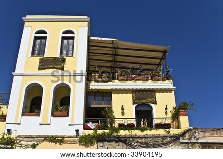 Traditional greek restaurant at rhodes island greece stock photo