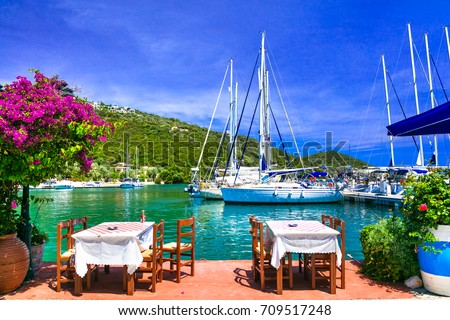 Traditional Greek restaurants near the sea. Sivota fishing village in Lefkada island
