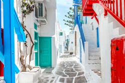 Traditional greek street on Mykonos Island, Cyclades, Greece